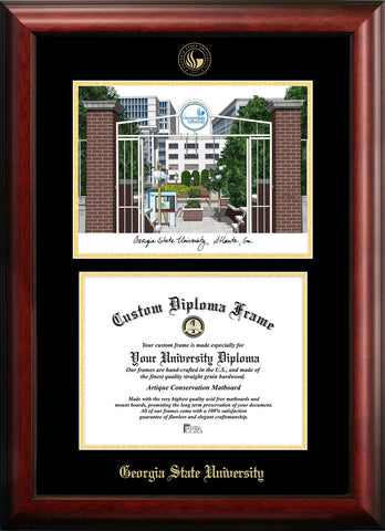 Gerogia State 17w x 14h Gold Embossed Diploma Frame with Campus Images Lithograph