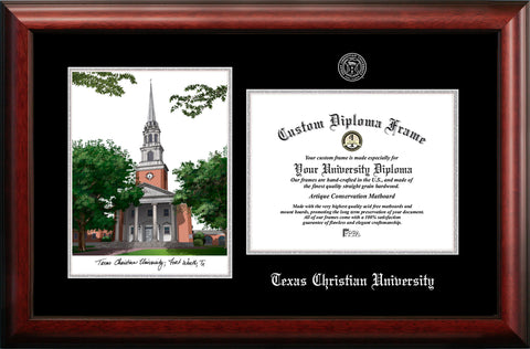 Texas Christian University 11w x 8.5h Silver Embossed Diploma Frame with Campus Images Lithograph