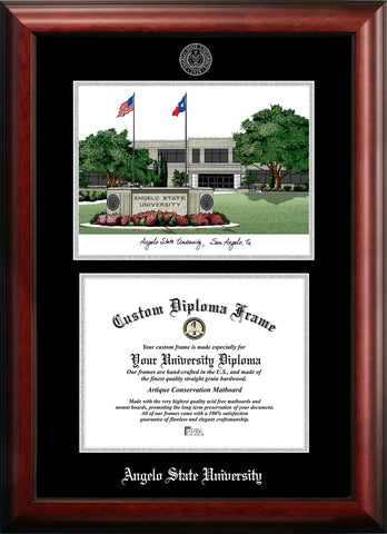 Angelo State University 11w x 8.5h Silver Embossed Diploma Frame with Campus Images Lithograph