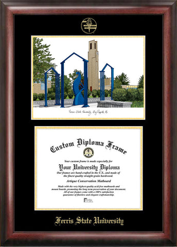 Ferris State University 11w x 8.5h Gold Embossed Diploma Frame with Campus Images Lithograph