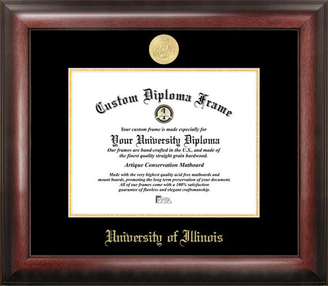 University of Illinois, Urbana-Champaign 11w x 8.5h Gold Embossed Diploma Frame