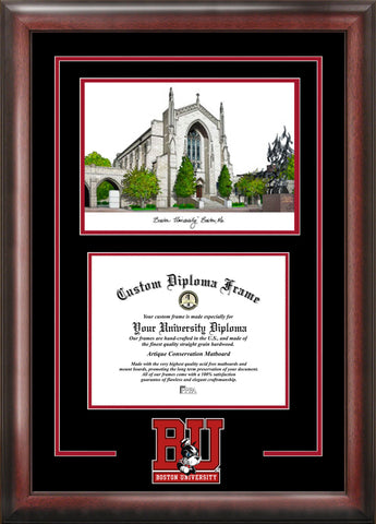 Boston University 14w x 11h Spirit Graduate Diploma Frame with Campus Images Lithograph