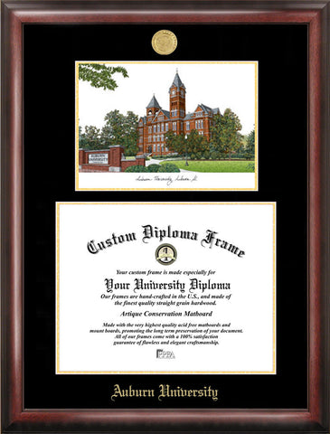 Auburn University 17w x 13h Gold Embossed Diploma Frame with Campus Images Lithograph