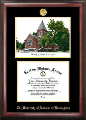University of Alabama, Birmingham 11w x 8.5h Gold Embossed Diploma Frame with Campus Images Lithograph