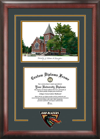 University of Alabama, Birmingham 11w x 8.5h Spirit Graduate Diploma Frame with Campus Images Lithograph