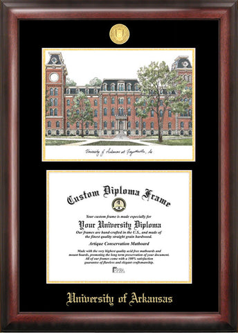 University of Arkansas 11w x 8.5h Gold Embossed Diploma Frame with Campus Images Lithograph