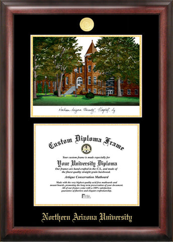 Northern Arizona University 11w x 8.5h Gold Embossed Diploma Frame with Campus Images Lithograph