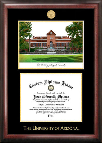 University of Arizona 11w x 8.5h Gold Embossed Diploma Frame with Campus Images Lithograph