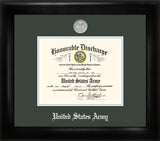 Army Discharge Black Frame Silver Medallion