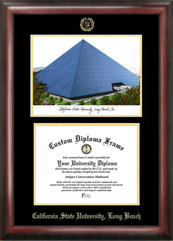 Cal State Long Beach 11w x 8.5h Gold Embossed Diploma Frame with Campus Images Lithograph