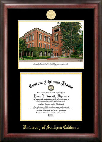 University of Southern California 11w x 8.5h Gold Embossed Diploma Frame with Campus Images Lithograph