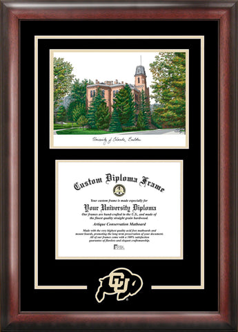 University of Colorado, Boulder 11w x 8.5h Spirit Graduate Diploma Frame with Campus Images Lithograph