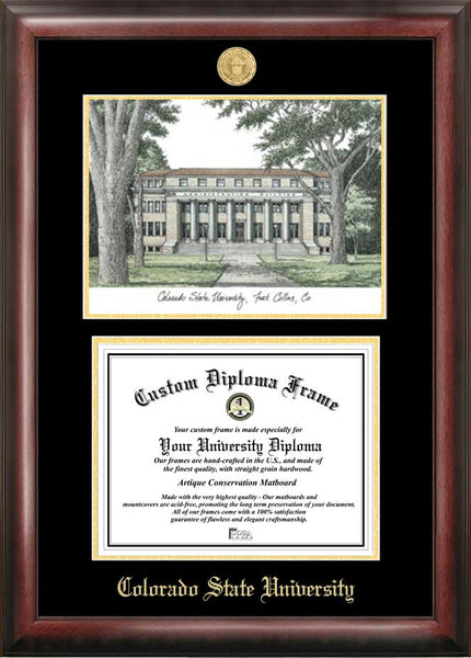 Colorado State University Gold Embossed Diploma Frame With Campus Imag Ci Frames