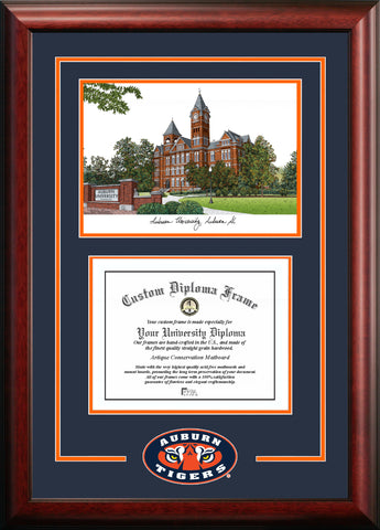 Auburn University 17w x 13h Spirit Graduate Diploma Frame with Campus Images Lithograph