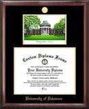 University of Delaware 16w x 12h Gold Embossed Diploma Frame with Campus Images Lithograph