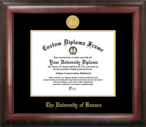 University of Kansas 11w x 8.5h Gold Embossed Diploma Frame