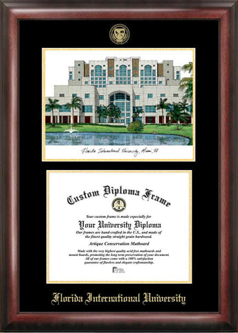Florida International University  11w x 8.5h  Gold Embossed Diploma Frame with Campus Images Lithograph