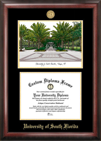 University of South Florida 11w x 8.5h Gold Embossed Diploma Frame with Campus Images Lithograph