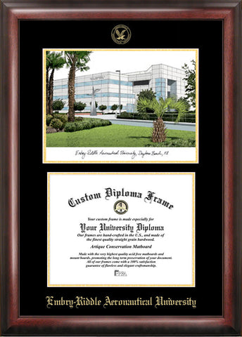 Embry-Riddle University 11w x 8.5h Gold Embossed Diploma Frame with Campus Images Lithograph