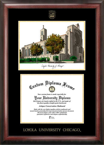 Loyola University Chicago 11w x 8.5h Gold Embossed Diploma Frame with Campus Images Lithograph