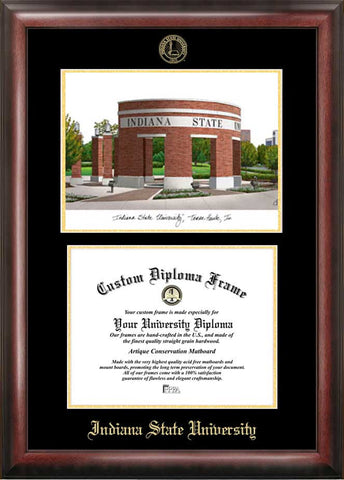 Indiana State  11w x 8.5h Gold Embossed Diploma Frame with Campus Images Lithograph