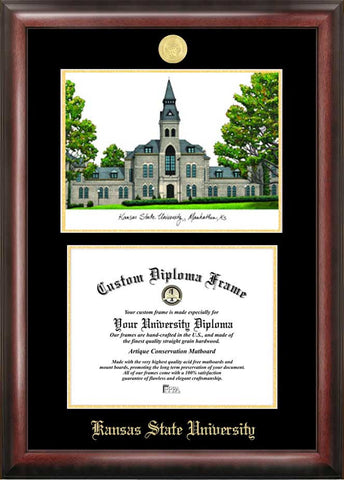 Kansas State University 11w x 8.5h  Gold Embossed Diploma Frame with Campus Images Lithograph