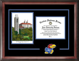 University of Kansas Jayhawks 11w x 8.5h Spirit Graduate Frame with Campus Image