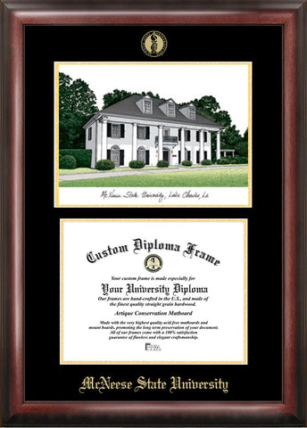 McNeese State University 11w x 8.5h Gold Embossed Diploma Frame with Campus Images Lithograph