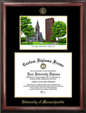 University of Massachusetts 11.5 x 14 Gold Embossed Diploma Frame with Campus Images Lithograph