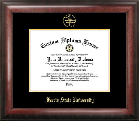 Ferris State University 11w x 8.5h  Gold Embossed Diploma Frame