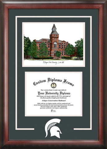 Michigan State University, Linton Hall,11w x 8.5h  Spirit Graduate Frame with Campus Image