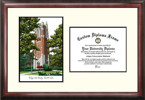 Michigan State University, Beaumont Hall 11w x 8.5h Scholar Diploma Frame