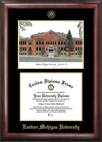 Eastern Michigan University 10w x 8h Gold Embossed Diploma Frame with Campus Images Lithograph
