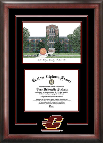 Central Michigan University 11w x 8.5h Spirit Graduate Diploma Frame with Campus Images Lithograph