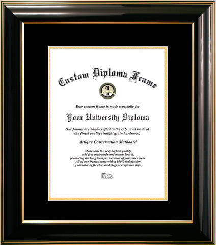 Classic Black Certificate Frame with Black & Gold Mats