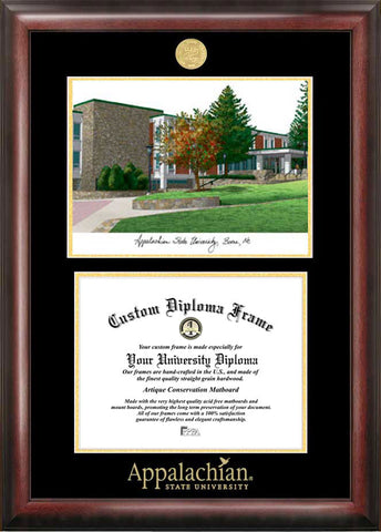 Appalachian State University 11w x 8.5h Gold Embossed Diploma Frame with Campus Images Lithograph
