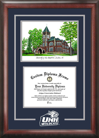 New Hampshire Wildcats 10w x 8h Spirit Graduate Frame with Campus Image