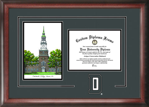 Dartmouth College 16w x 12h Spirit Graduate Diploma Frame with Campus Images Lithograph