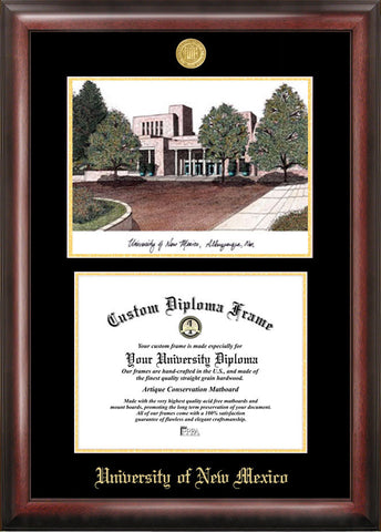 University of New Mexico 11w x 8.5h Gold Embossed Diploma Frame with Campus Images Lithograph