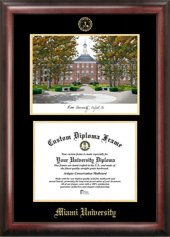 Miami University Ohio 11w x 8.5h Gold Embossed Diploma Frame with Campus Images Lithograph