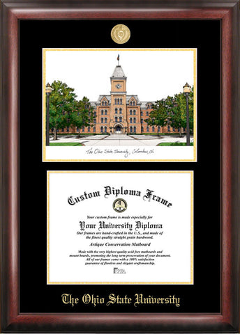 Ohio State University 11w x 8.5h Gold Embossed Diploma Frame with Campus Images Lithograph