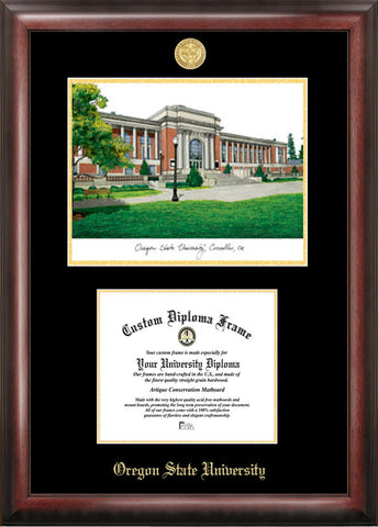 Oregon State University 11w x 8.5h Gold Embossed Diploma Frame with Campus Images Lithograph