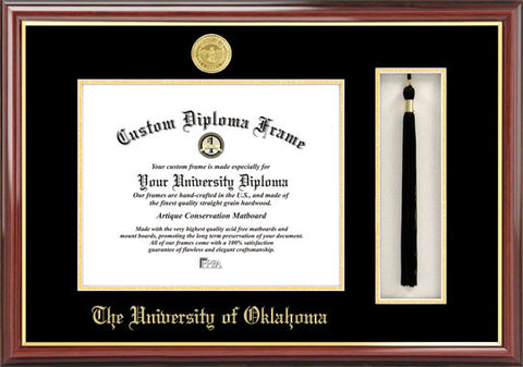 University of Oklahoma 11w x 8.5h Tassel Box and Diploma Frame