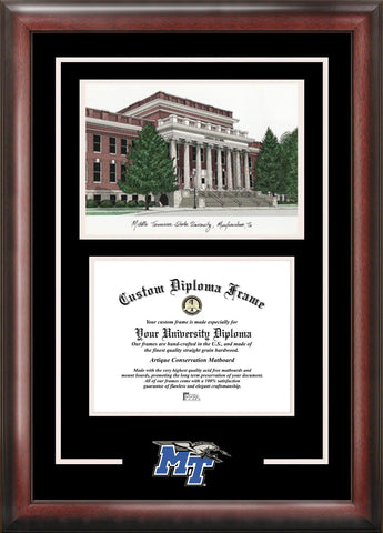 Middle Tennessee State 11w x 8.5h Spirit Graduate Frame with Campus Image