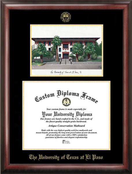 University Of Texas El Paso 14w X 11h Gold Embossed Diploma Frame Wit Ci Frames