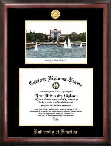 University of Houston 14w x 11h Gold Embossed Diploma Frame with Campus Images Lithograph