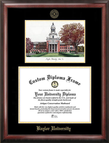 Baylor University 14w x 11h Gold Embossed Diploma Frame with Campus Images Lithograph