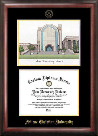 Abilene Christian University 11w x 8.5h Gold Embossed Diploma Frame with Campus Images Lithograph