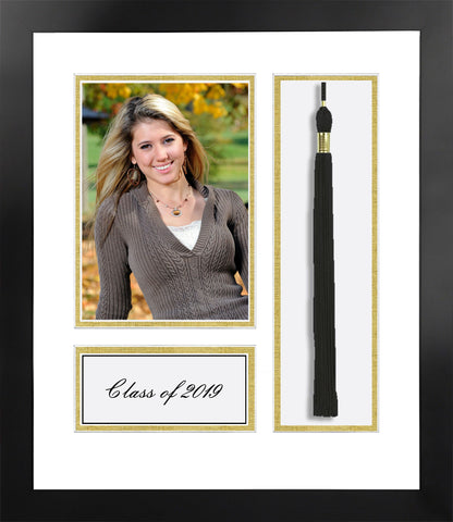 Academic Nova Black Photo Frame, White and Gold matting with Tassel opening 5x7 Photo opening