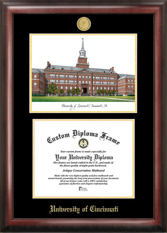 University of Cincinnati  11w x 8.5h Gold Embossed Diploma Frame with Campus Images Lithograph